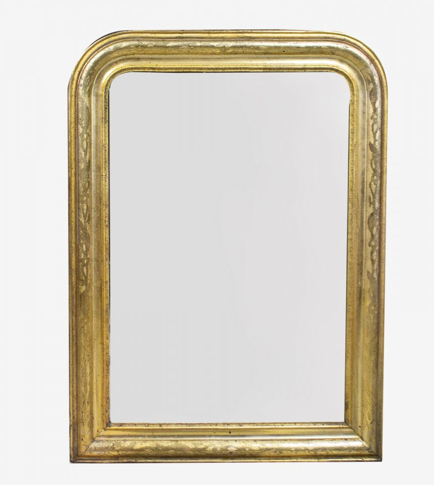 Franse Spiegels gouden Louis Philippe met bloem- en plantgravures
