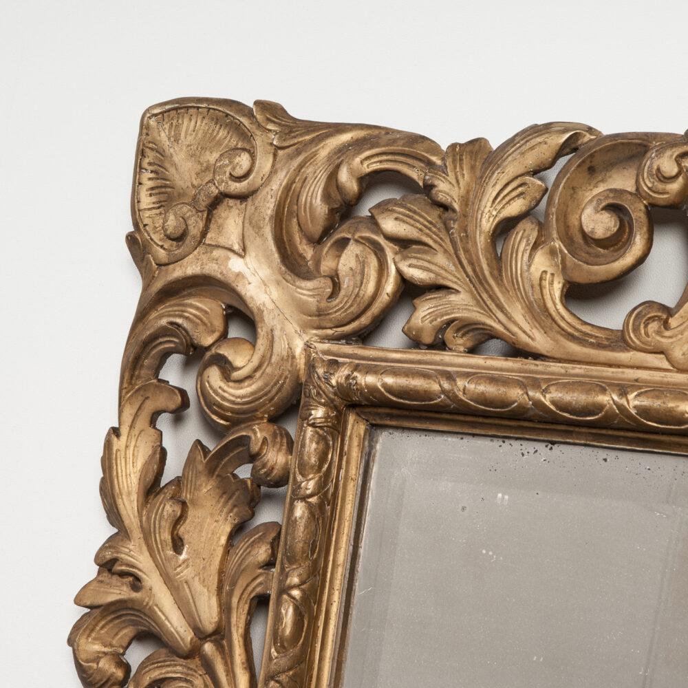 Franse Spiegel Italiaanse Rechthoekige Barok Spiegel met Gouden Lijst Detail 4