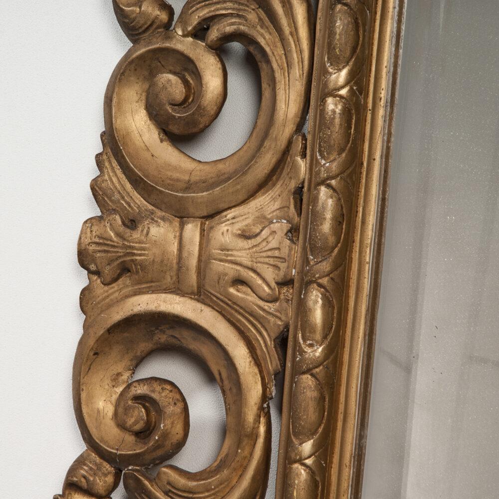 Franse Spiegel Italiaanse Rechthoekige Barok Spiegel met Gouden Lijst Detail 3