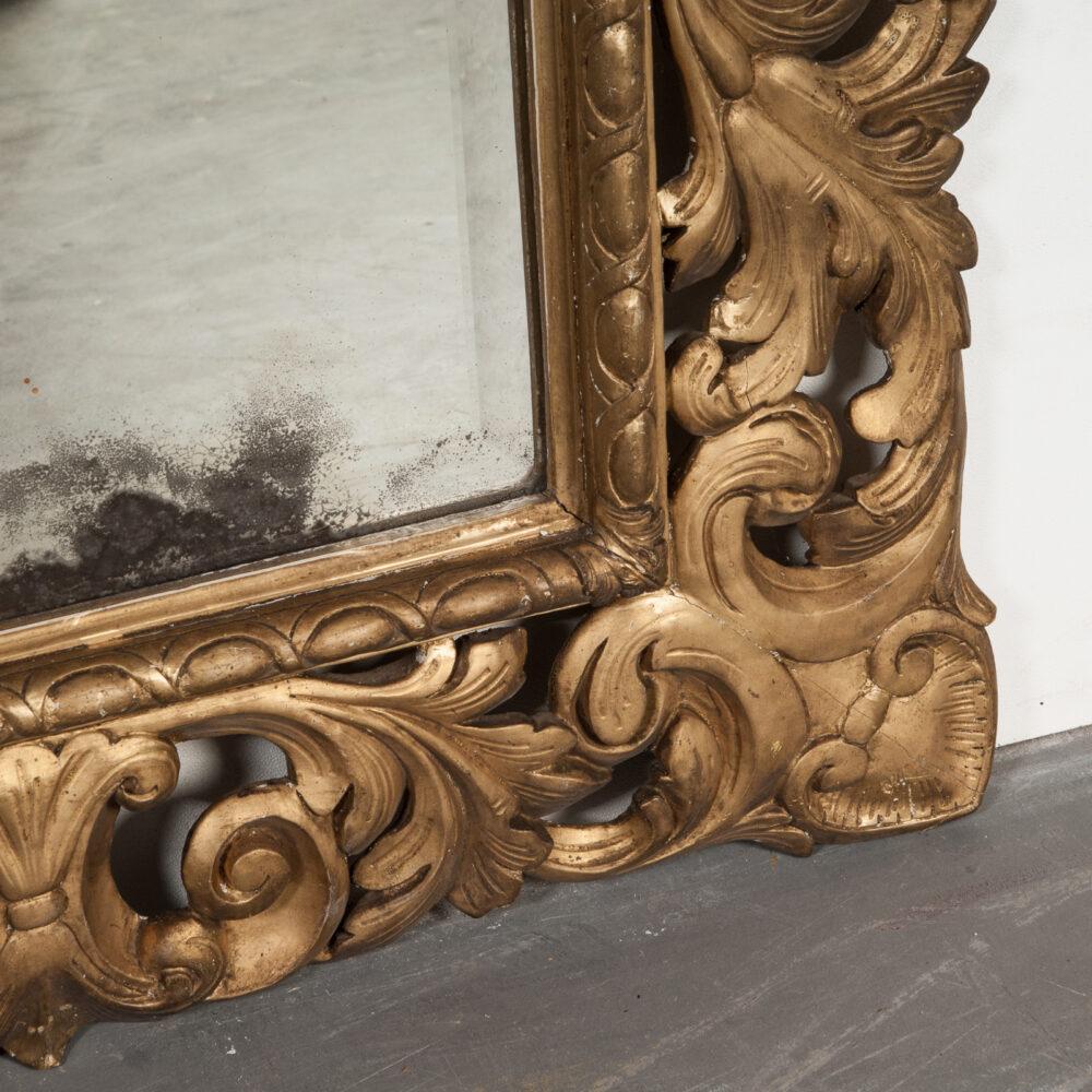 Franse Spiegel Italiaanse Rechthoekige Barok Spiegel met Gouden Lijst Detail 2