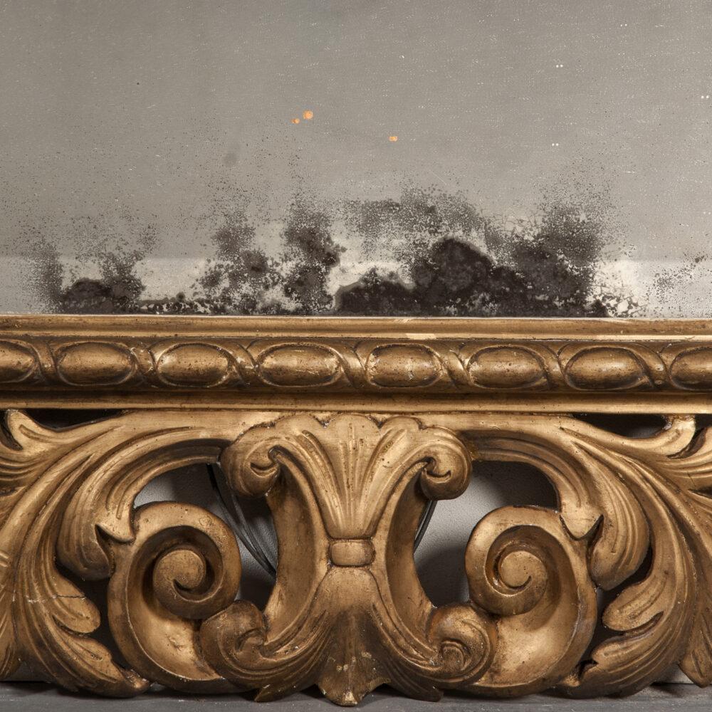 Franse Spiegel Italiaanse Rechthoekige Barok Spiegel met Gouden Lijst Detail