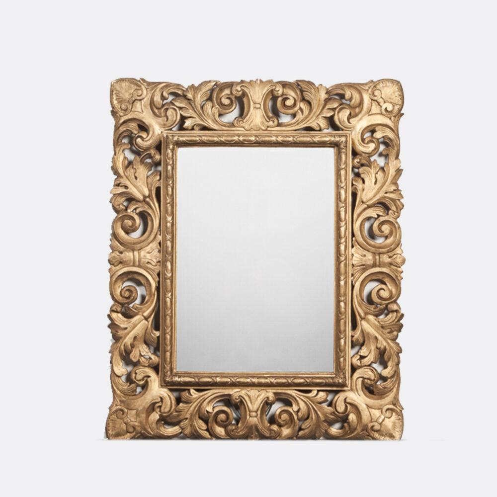 Franse Spiegel Italiaanse Rechthoekige Barok Spiegel met Gouden Lijst Overzicht